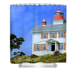 Shower Curtain featuring the photograph Yaquina Bay Lighthouse by AJ Schibig