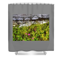 Yaquina Bay Roses Shower Curtain