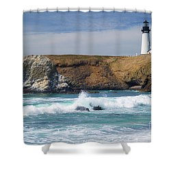 Yaquina Head Lighthouse On The Oregon Coast Shower Curtain