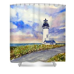 Yaquina Head Lighthouse - Springtime Shower Curtain