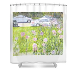 Yard Flowers  In Chicago Shower Curtain