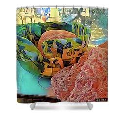 Shower Curtain featuring the digital art Yarn Bowl by Ginny Schmidt