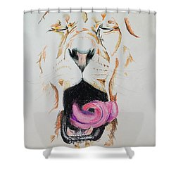 Yawning Lion  Shower Curtain
