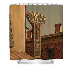 Ybor City Drugs Shower Curtain by Robert Youmans