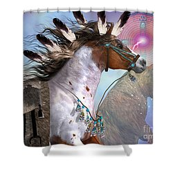 Year Of The Bear Horse Shower Curtain by Corey Ford