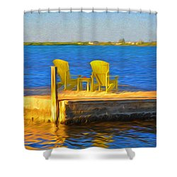 Yellow Adirondack Chairs On Dock In Florida Keys Shower Curtain