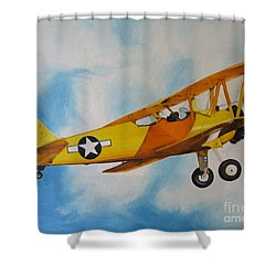 Shower Curtain featuring the painting Yellow Airplane - Detail by Jindra Noewi