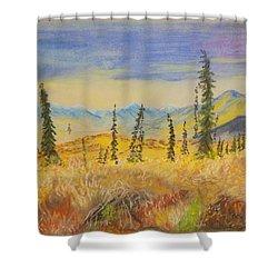 Yellow Alaska Shower Curtain