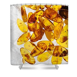 Shower Curtain featuring the photograph Yellow Amber Stones  by Andrey  Godyaykin
