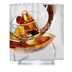 Shower Curtain featuring the photograph Yellow Amber Stones In A Glass. by Andrey  Godyaykin