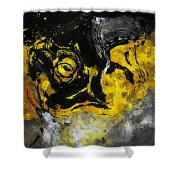 Shower Curtain featuring the painting Yellow And Black Abstract Art by Ayse Deniz