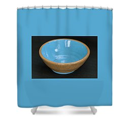 Yellow And Blue Ceramic Bowl Shower Curtain by Suzanne Gaff