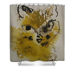 Yellow And Brown Cat Shower Curtain by AJ Brown