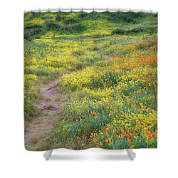 Shower Curtain featuring the photograph Yellow And Orange Wildflowers Along Trail Near Diamond Lake by Jetson Nguyen