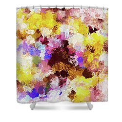 Shower Curtain featuring the painting Yellow And Pink Abstract Painting by Ayse Deniz