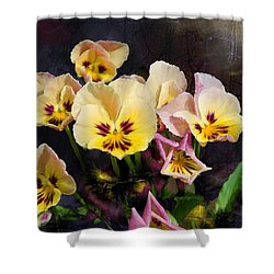 Yellow And Pink Pansies Shower Curtain