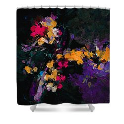 Shower Curtain featuring the painting Yellow And Purple Abstract / Modern Painting by Ayse Deniz