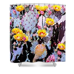Yellow And Red Flower Shower Curtain by M Diane Bonaparte