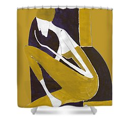 Shower Curtain featuring the painting Yellow And Violet by Maya Manolova