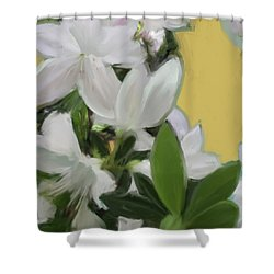 Yellow And White Flower Art 1  Shower Curtain