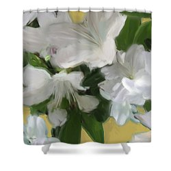 Yellow And White Flower Art 2 Shower Curtain