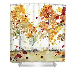 Shower Curtain featuring the painting Yellow Aspens by Dawn Derman