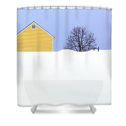 Yellow Barn In Snow Shower Curtain by John Vose