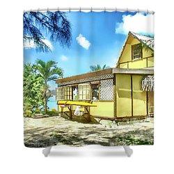 Shower Curtain featuring the photograph Yellow Beach Bungalow Bora Bora by Julie Palencia