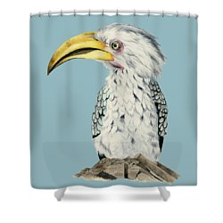 Yellow-billed Hornbill Watercolor Painting Shower Curtain by NamiBear