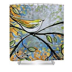Yellow Bird Among Sage Twigs Shower Curtain