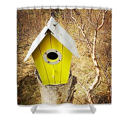 Yellow Bird House Shower Curtain