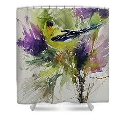 Yellow Bird In The Thistles Shower Curtain