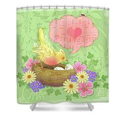 Yellow Bird's Love Song Shower Curtain
