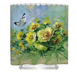 Yellow Blossoms And Butterfly Shower Curtain by David Jansen