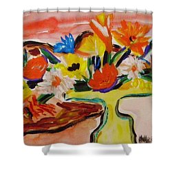 Yellow Blown Glass Vase Shower Curtain