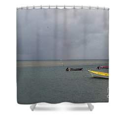 Shower Curtain featuring the photograph Yellow Boat by Gary Wonning