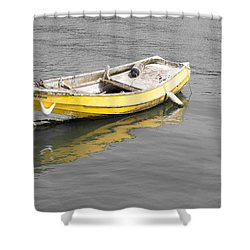Yellow Boat Shower Curtain by Helen Northcott