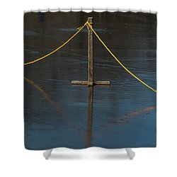 Shower Curtain featuring the photograph Yellow Boundary On Ice by Gary Slawsky