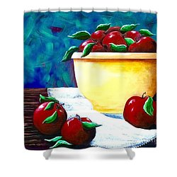 Yellow Bowl Of Apples Shower Curtain