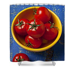 Yellow Bowl Of Tomatoes  Shower Curtain by Garry Gay