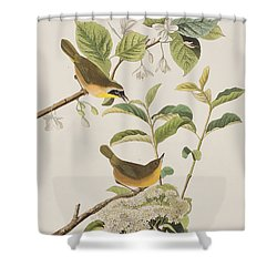 Yellow-breasted Warbler Shower Curtain by John James Audubon