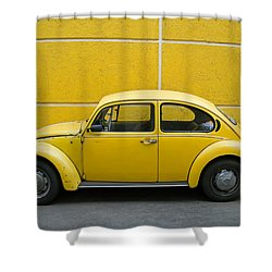 Yellow Bug Shower Curtain by Skip Hunt