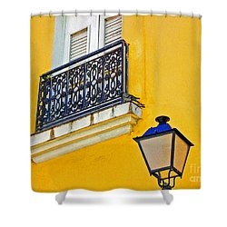 Yellow Building Shower Curtain by Debbi Granruth
