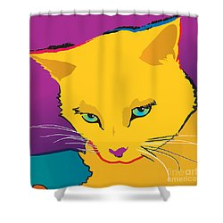 Yellow Cat Square Shower Curtain