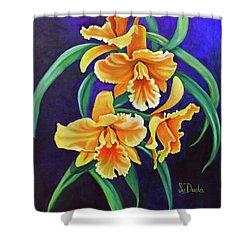 Yellow Cattlya Orchids Shower Curtain