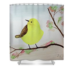 Yellow Chickadee On A Branch Shower Curtain