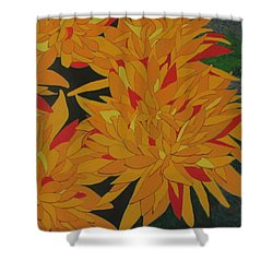 Yellow Chrysanthemums Shower Curtain