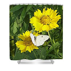 Shower Curtain featuring the digital art Yellow Cow Pen Daisies by Shelli Fitzpatrick