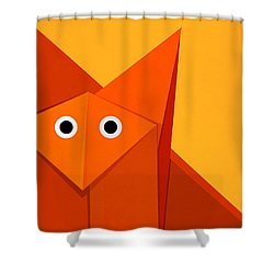 Yellow Cute Origami Fox Shower Curtain