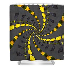 Yellow Daisy Spin Wheel  Shower Curtain